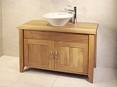 Oak Bathroom Double Wash Stand With 2 Doors - Aquarius Collection