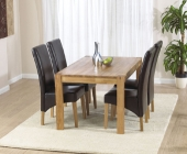 Savanna Oak Dining Table - 120cm &amp; 4 Rochelle Leather Dining Chairs - Brown, Black or Cream
