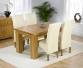 Palermo Oak Dining Table 150cm &amp; 4 Rochelle Leather Chairs - Cream, Black or Brown 