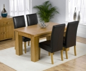 Palermo Oak Dining Table 150cm &amp; 4 Monaco Leather Chairs 