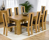 Palermo Oak Dining Table 200cm & 8 Santander Chairs - Cream, Black, Brown or Cream