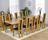 Monaco Oak Extending Dining Table - 180-270cm & 10 Santander Dining Chairs with Brown, Black or Cream Leather Seats