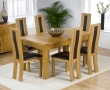 Monaco Oak Extending Dining Table - 150-240cm & 6 Santander Dining Chairs - Black, Brown or Cream