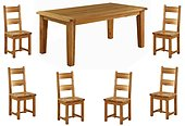 Vancouver Oak Fixed Top Dining Table - 150cm & 6 Oak Dining Chairs