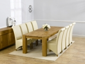 Turin Oak Dining Table - 240cm &amp; 8 Palermo Leather Chairs - Cream, Brown or Black 