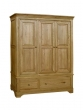 Loire Oak Triple Wardrobe with drawers