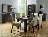 Akita Walnut 6-8 Seater Extending Dining Table & 6 Ivory Leather Tapered Back Chairs