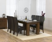 Palermo Dark Oak 180cm Dining Table &amp; 6 Marcello Brown Dining Chairs