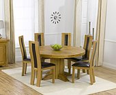 Zenia Oak 150cm Round Dining Table & 6 Santander Chairs - Brown, Black or Cream