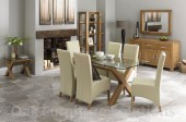 Lyon Oak Glass Dining Table &amp; 6 Ivory Wing Back Faux Leather Chairs