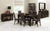 Lyon Walnut End Extension Dining Table - 150cm & 6 Brown Leather Chairs