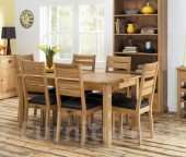 Provence Oak Fixed Dining Table &amp; 6 Slatted Dining Chairs