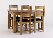 Westbury Reclaimed Oak Extending Table & 4 Oak Dining Chairs - Solid or Leather Seats