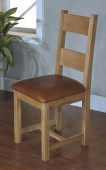 Santana Blonde Oak Dining Chairs with Leather Seat Pads - Pair
